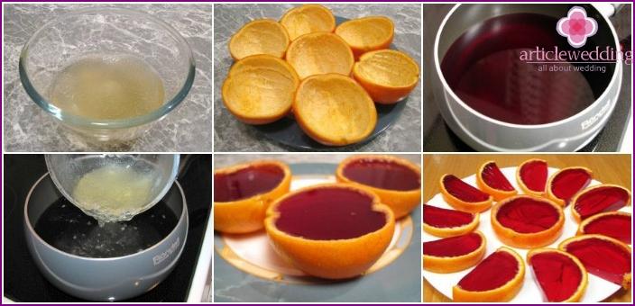 Orange peel with cherry jelly
