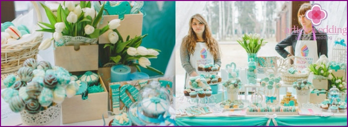 Wedding sweet corner in turquoise shades