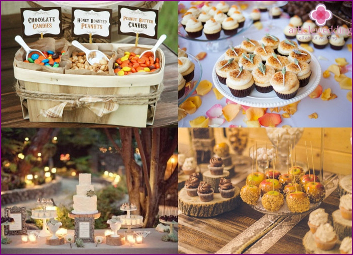 Rustic design style of a solemn dessert table