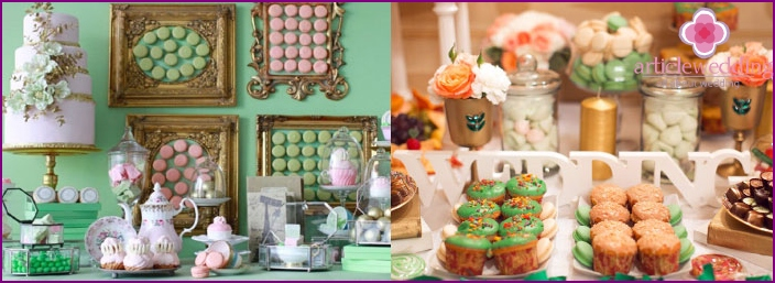 Examples of treats for a wedding table decor