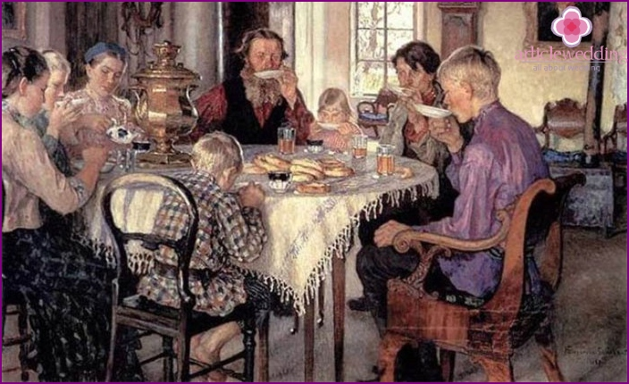 Russian tradition of joint tea drinking
