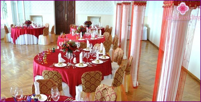 Decoration of the hall for the wedding of the Tatars