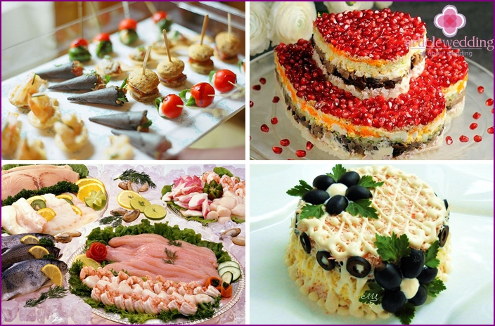 Salads and cold appetizers for a wedding table