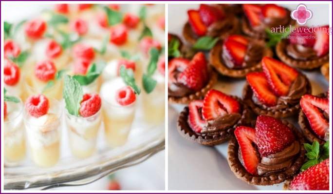 Desserts for a wedding table