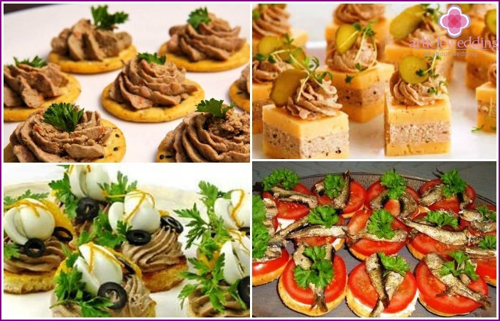 Sprat canapes for a wedding party