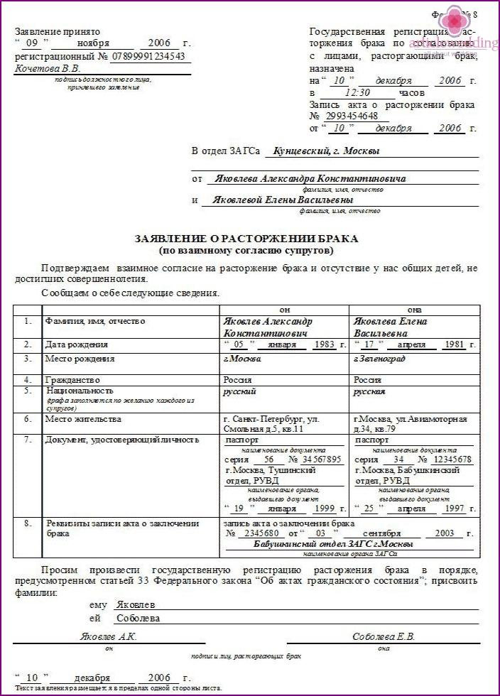 Form for divorce form No. 8