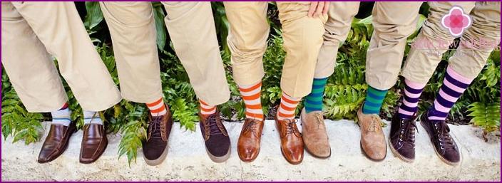 Team of friends in striped socks.