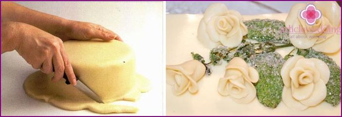 Mastic wrapping sponge cake for wedding cake