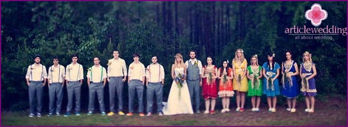 Friends organized wedding in the style of