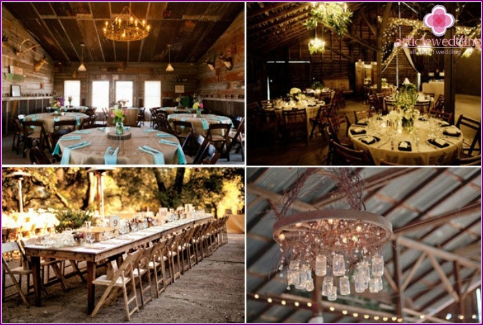 Room decoration for a wooden wedding