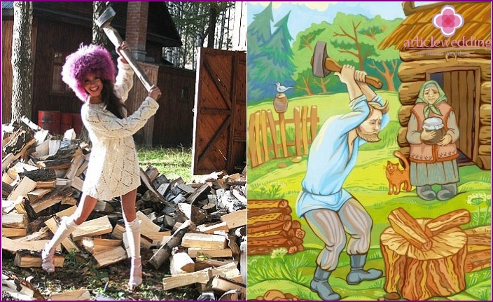Fun wooden wedding contest: lumberjack