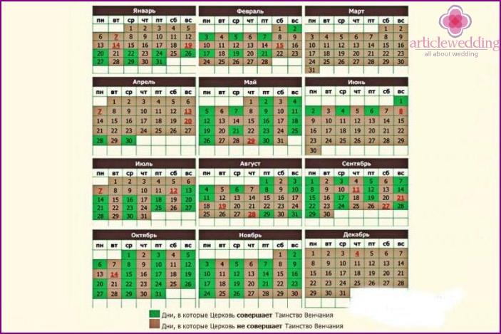 Wedding Calendar 2016 - Good Days