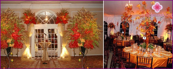 Decoration of the hall for the wedding in September