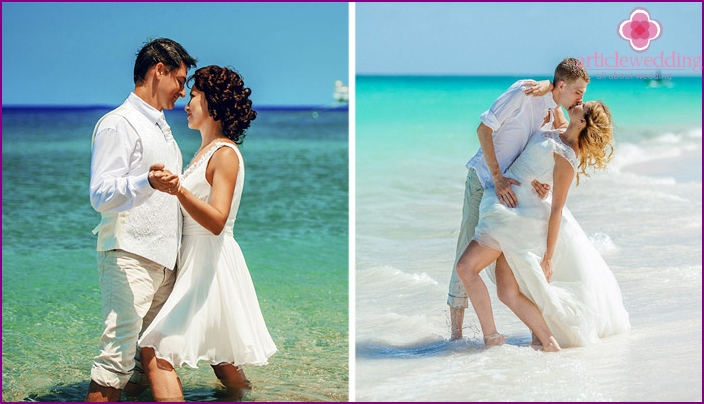 Footage of a beach wedding photo shoot