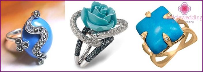 Ringe mit Türkis - Geschenke zum 18. Hochzeitstag