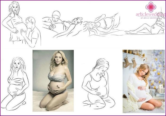 Schwangere posiert für ein Fotoshooting