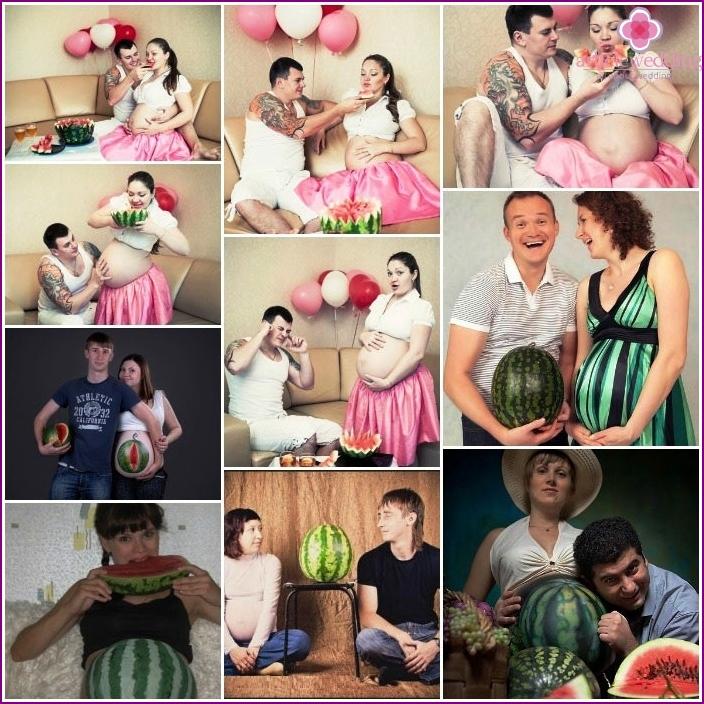 Fotoshooting einer schwangeren Frau mit einer Wassermelone