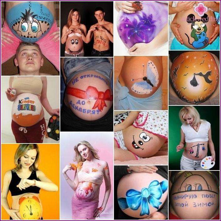 Schwangere Körperkunst zum Fotografieren einer schwangeren Frau