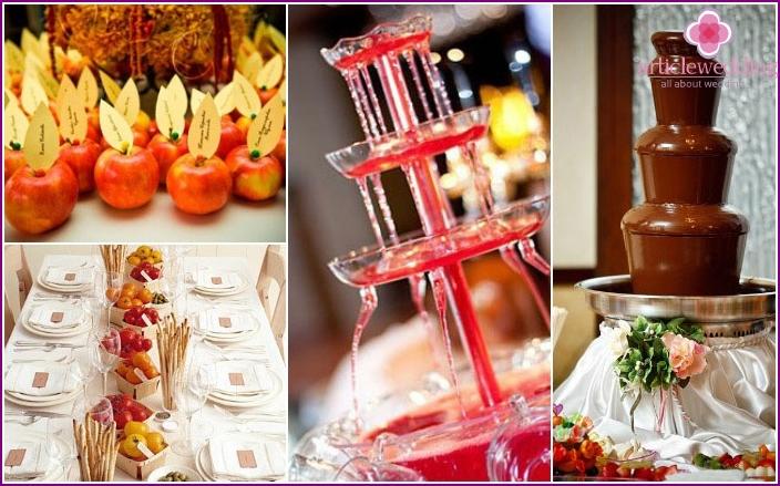 Wedding decor of fruits, vegetables