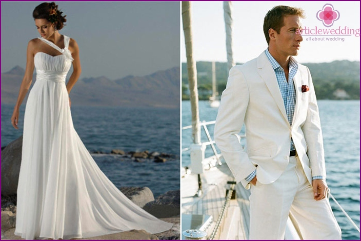 Wedding dress and suit of the groom for the ceremony in a marine style