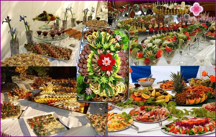 Festive dishes at a wedding without a banquet