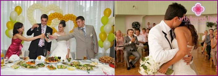 Pleasant moments at a wedding party