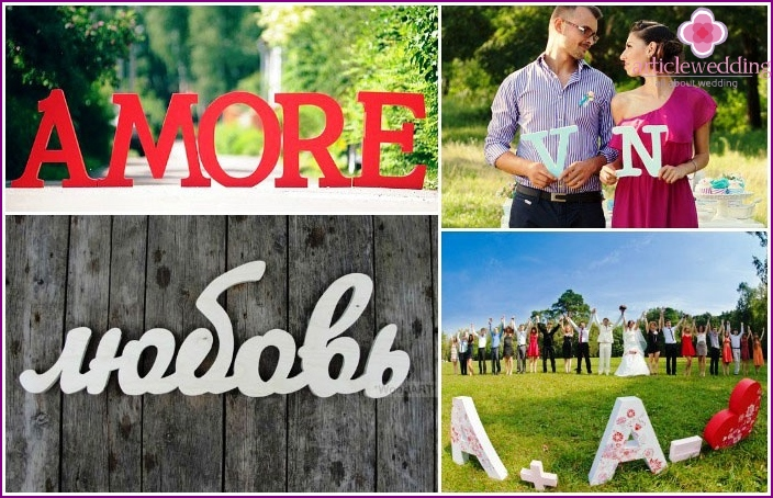 Varieties of letters and inscriptions for a wedding photo shoot