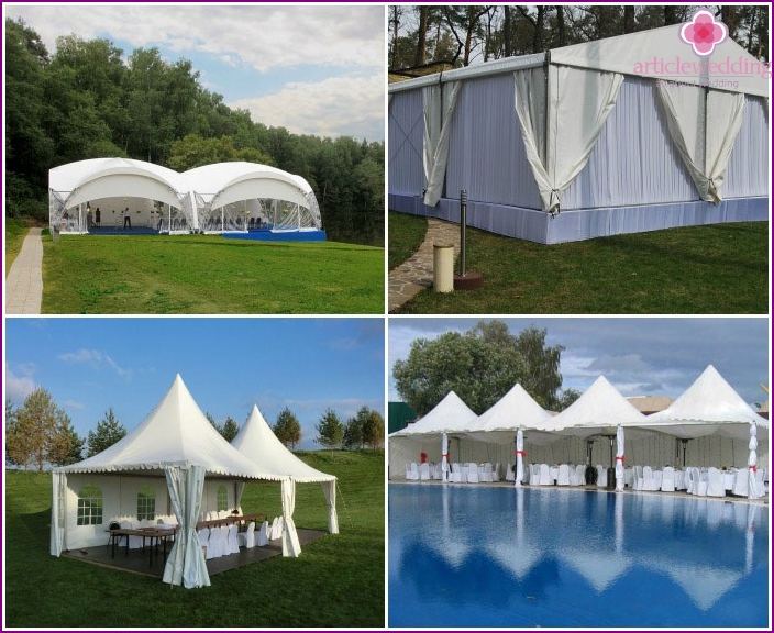 Tents, canopies at a wedding