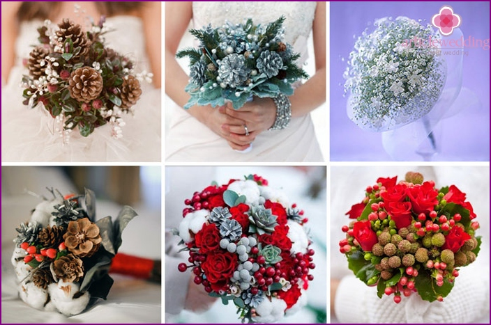 Winter bouquets for the January wedding