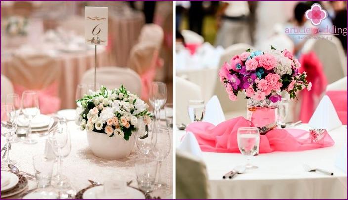 Flower arrangements for guest tables