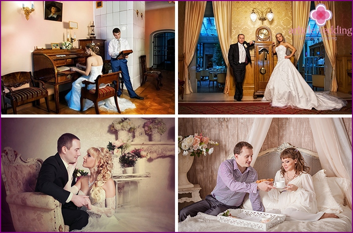Wedding photo session in the interior studio