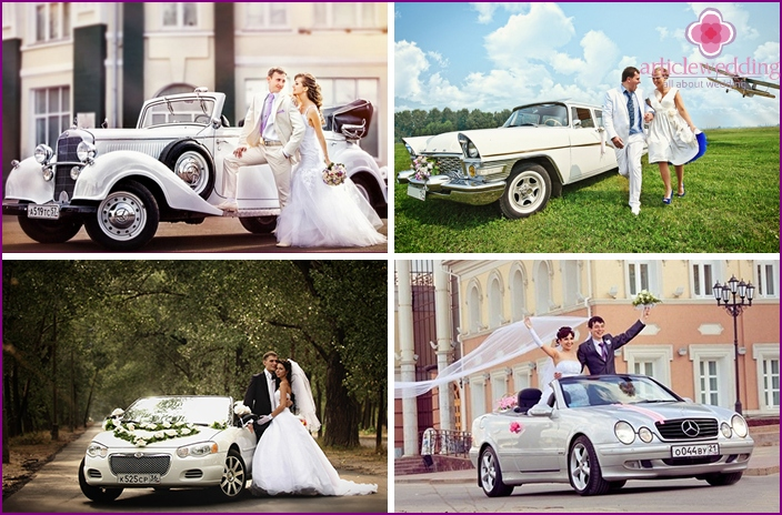 Bride and groom with a car