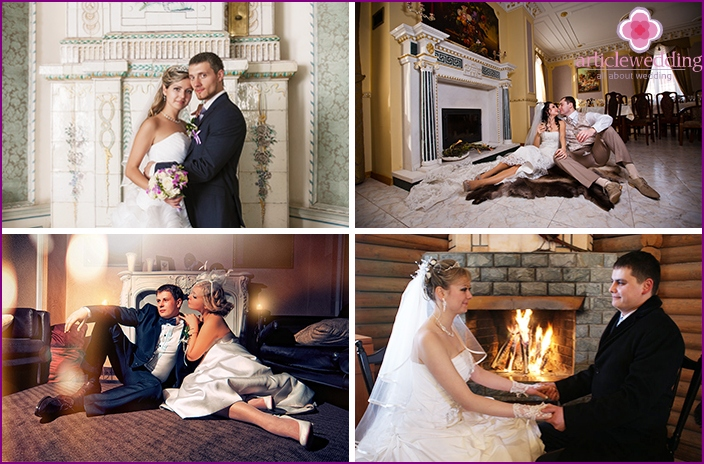 Photoshoot of spouses by the fireplace
