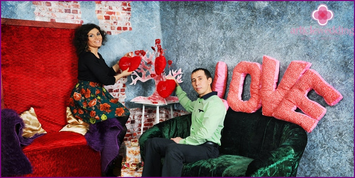 Newlyweds photo session in the studio