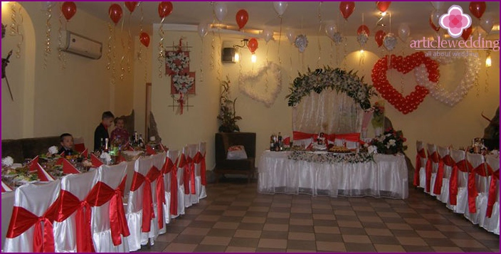 Wedding for a holiday of lovers in a restaurant