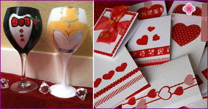 Dekoration von Hochzeitsaccessoires im romantischen Stil