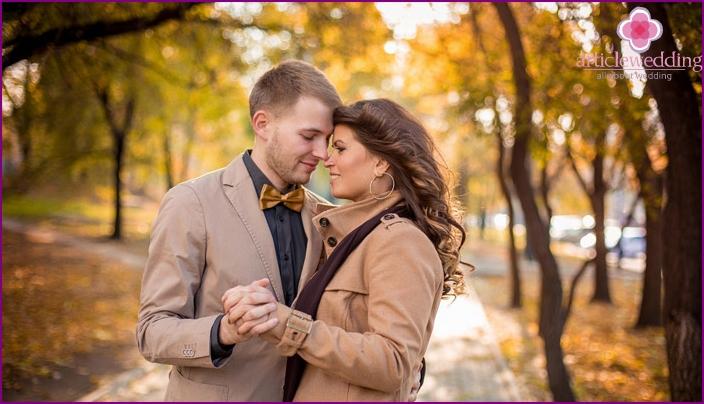 Autumn photoset just married love story