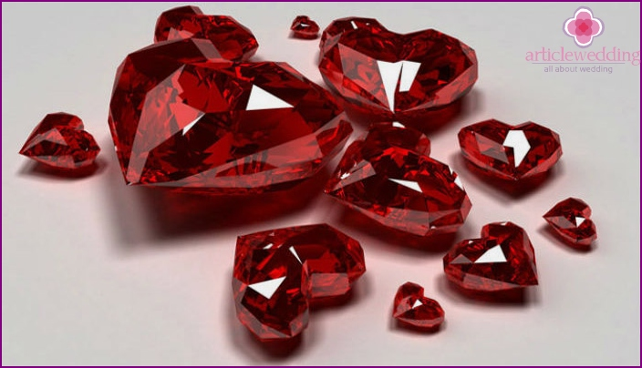Gemstone ruby as a symbol of the 40th anniversary