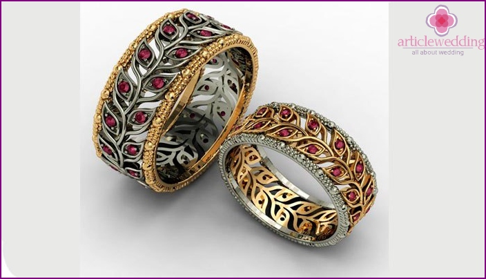 Rings with rubies for 100 years of wedding