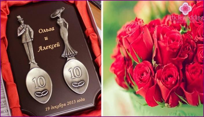 Tin and rose as anniversary symbols