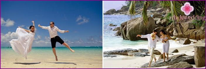 Jungvermählten verbringen ihre Flitterwochen auf den Inseln von Mauritius