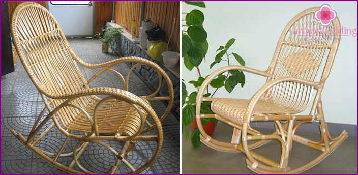 DIY wicker chair as a gift to his wife