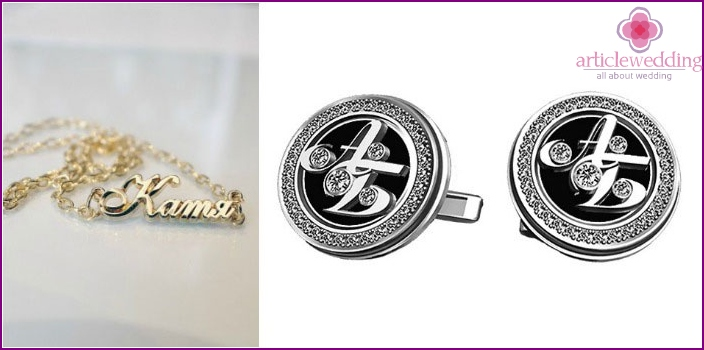 Name pendant and cufflinks for zinc anniversary