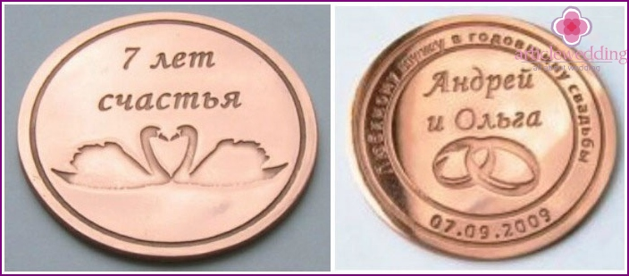 Coin: a gift for a copper wedding