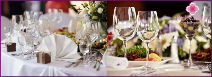 Table decoration for a glass wedding