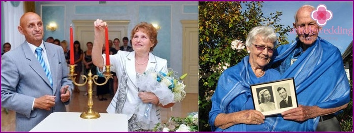 Wedding anniversary: spouses outfits in blue tones