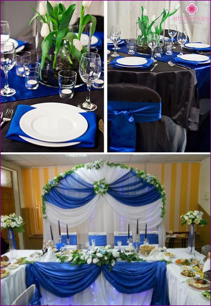Saphir Hochzeit Tischdekoration