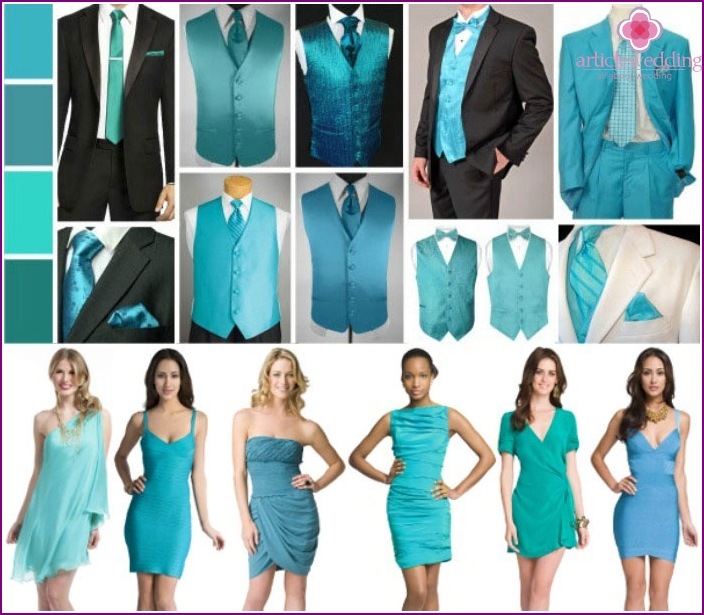 Color schemes of suits for a turquoise wedding
