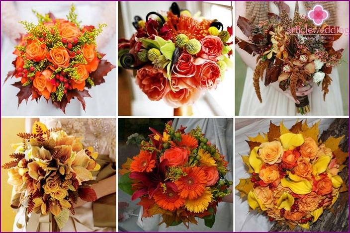 Syksyn kukkakimpun morsiamen