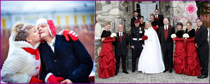 Winter wedding: primary color red